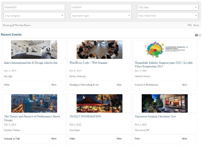 WordPress Event Listings