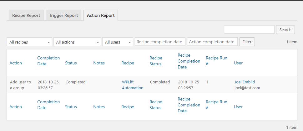 action log