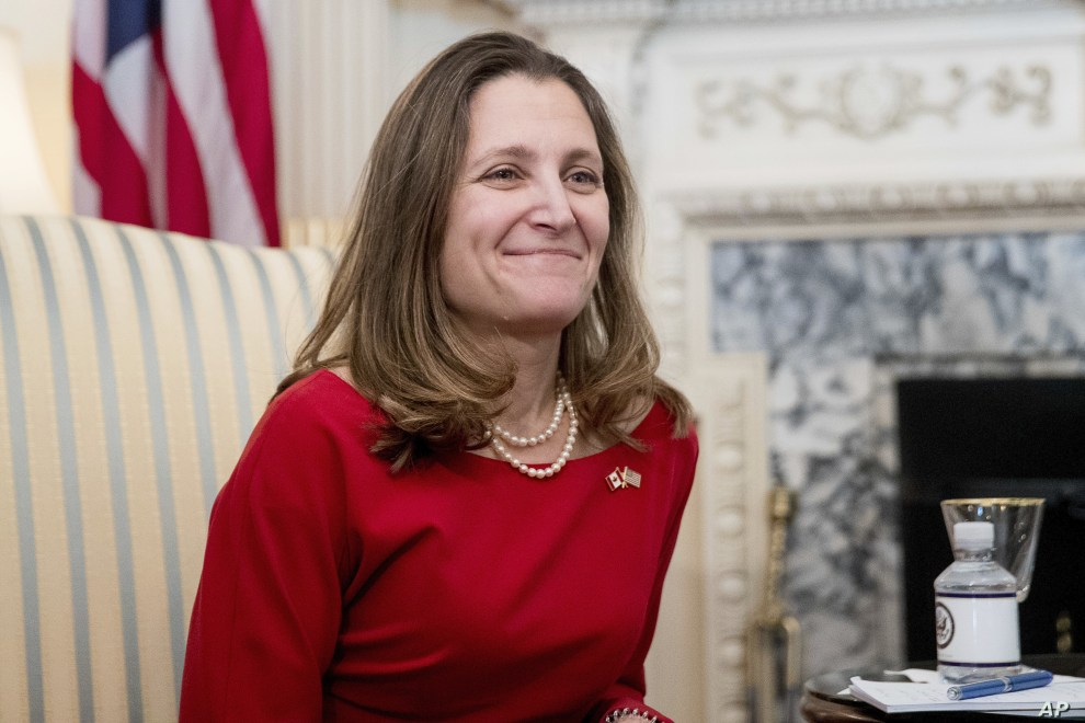 FILE - Canadian Foreign Affairs Minister Chrystia Freeland at the State Department​ in Washington, Feb. 8, 2017.