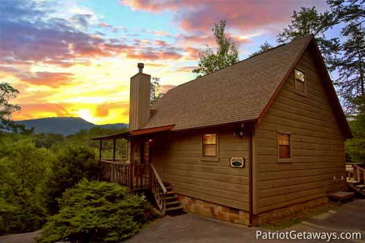 Sunset over a cabin in the Smoky Mountains