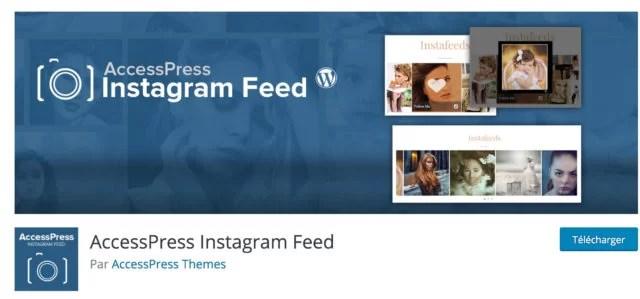Screenshot du plugin AccessPress Instagram Feed sur le repository WordPress
