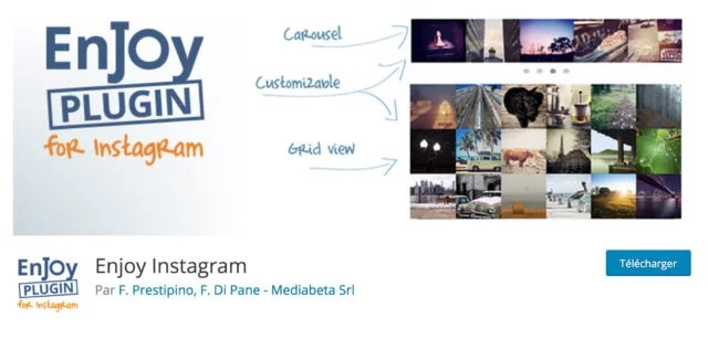 Screenshot du plugin Enjoy Instagram sur le repository WordPress