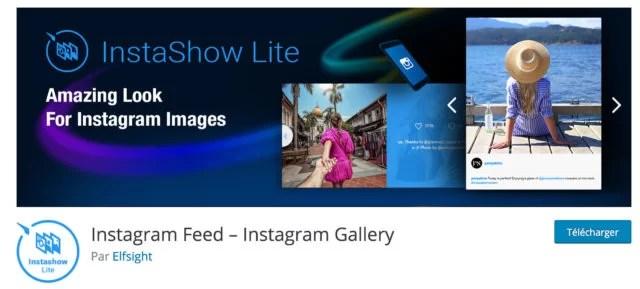 Screenshot du plugin Insta Show Lite sur le repository WordPress