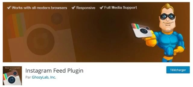 Screenshot du plugin Instagram Feed Plugin sur le repository WordPress