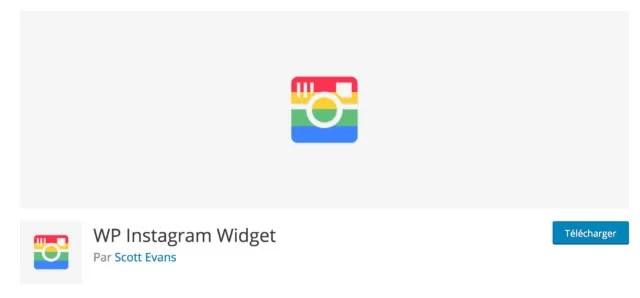 Screenshot du plugin WP Instagram widget sur le repository