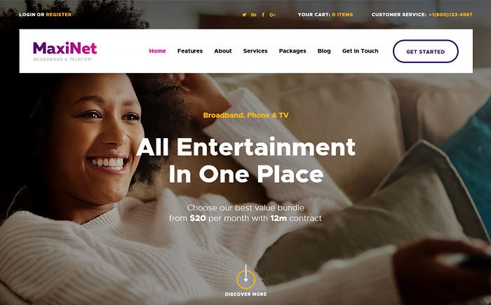 MaxiNet | Broadband & Telecom WordPress Theme