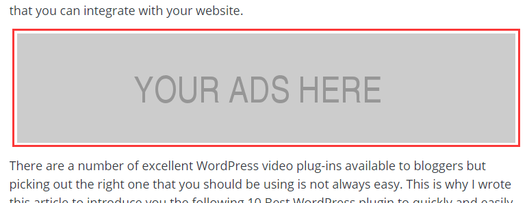 Insert Ads After The First Paragraph Of Your Post