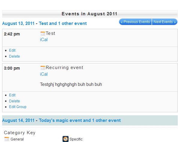 My Calendar Calendar List