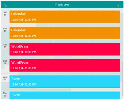 Responsive Event Calendar Events