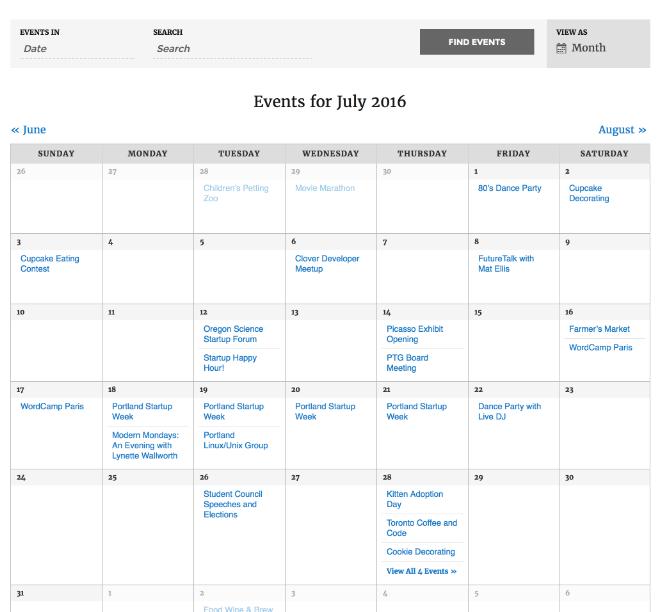 The Events Calendar Event Calendar