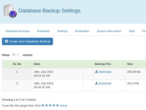 WP Database Backup