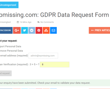 GDPR Data Request Form Preview