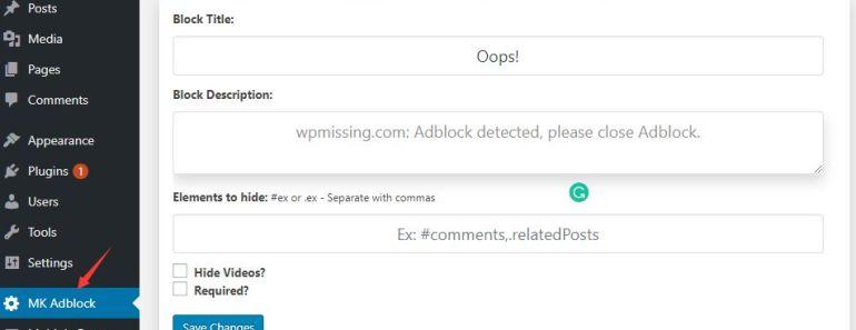 MK Adblock Notification