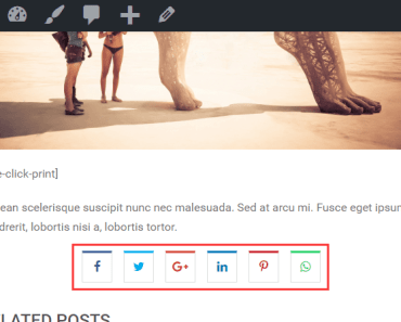 Simple Social Share Bar For Posts And Products