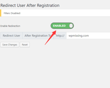 Enable the After Registration Redirection