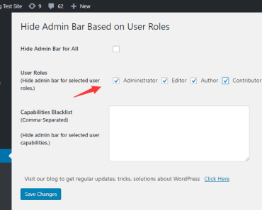 select the user roles to hide the admin bar