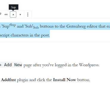 Insert Subscript and Superscript Characters In Gutenberg Editor - Richtext Addfmt