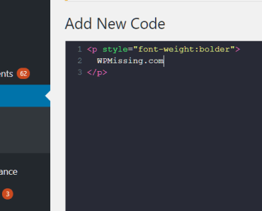 new code snippet in the editor