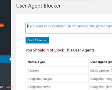 User Agent Blocker Settings
