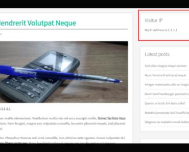 Display IP Address Of Your Vistors