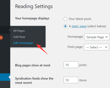 Edit Wordpress Homepage From Admin Sidebar - Edit Homepage