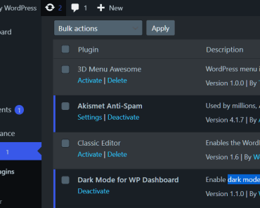Dark Mode For WordPress Dashboard