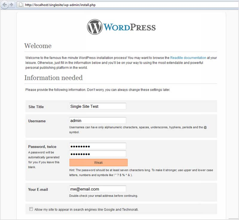 wordpress five minute install screen