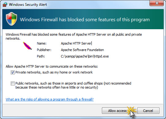 prevent windows firewall from blocking access