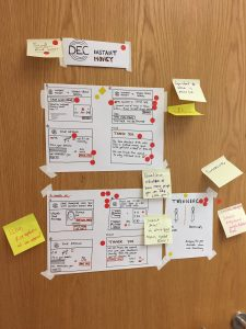 A sketch of a website design with post it notes for annotations