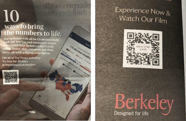QR codes in newspapers - promoting the 2020 US election and an advert for a housing development