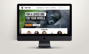 The WWF Tribute Fund website shown on a desktop device