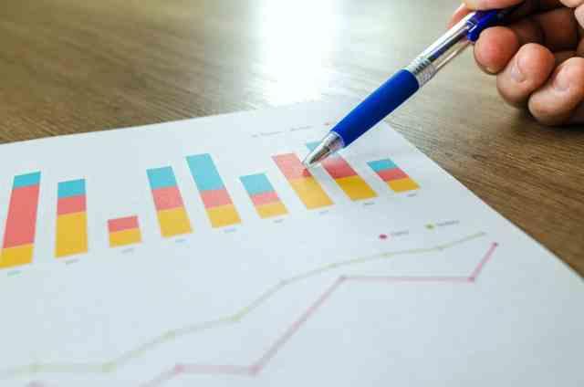 Man pointing at analytics chart
