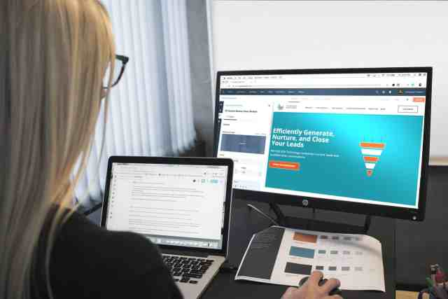 Woman making web design