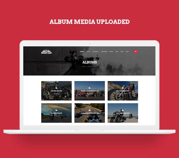 Upload album media in Bikersclub Motorcycle WordPress Theme