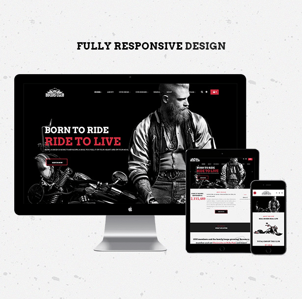 Fully responsive and retina ready Bikersclub MotorBike WordPress theme