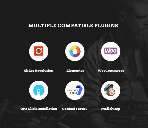 Powerful plugins integrated in Bikersclub Motorcycle WooCommerce WordPress theme