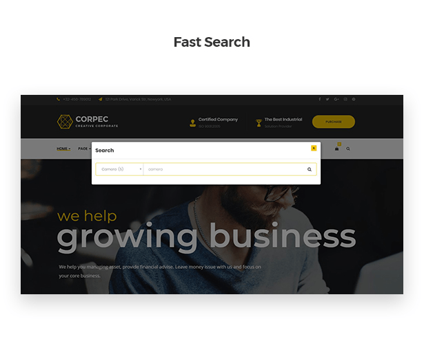 Fast Search in Corpec Corporate WordPress Theme