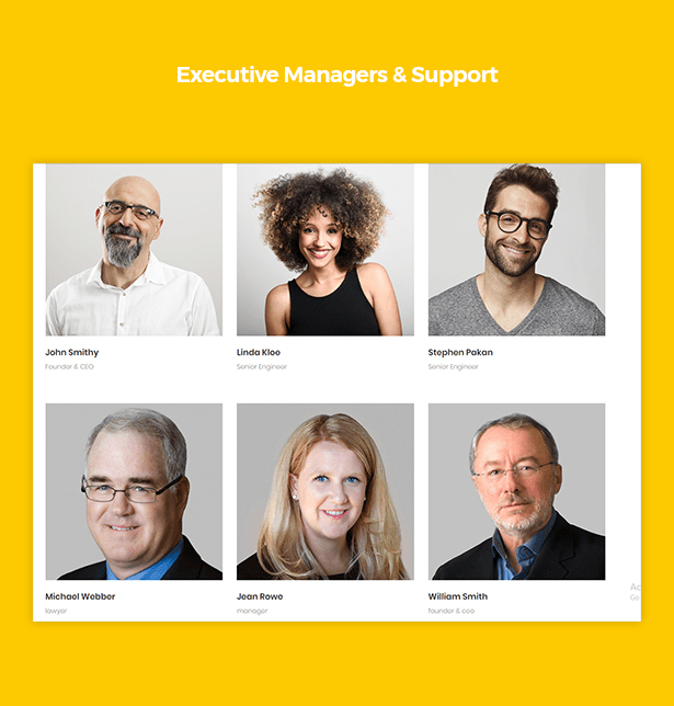 Executive Managers & Support in Corpec Corporate WordPress Theme