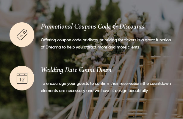Create Coupon Code & Discount and  Countdown for Wedding Event
