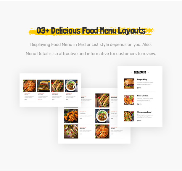 Foodo menu design: WordPress theme for fast food restaurants