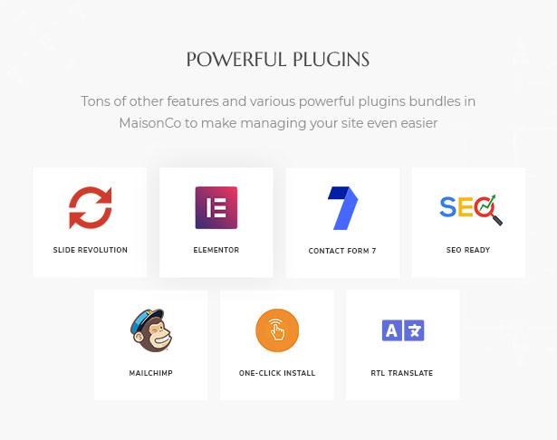 Powerful plugins bundled with MaisonCo Single Property For Sale & Rent WordPress Theme