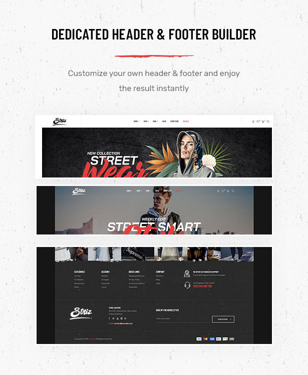 Striz Fashion Ecommerce WordPress Theme with flexible header and footer builder