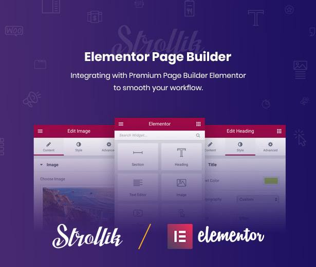 Strollik single product elementor drag and drop page builder