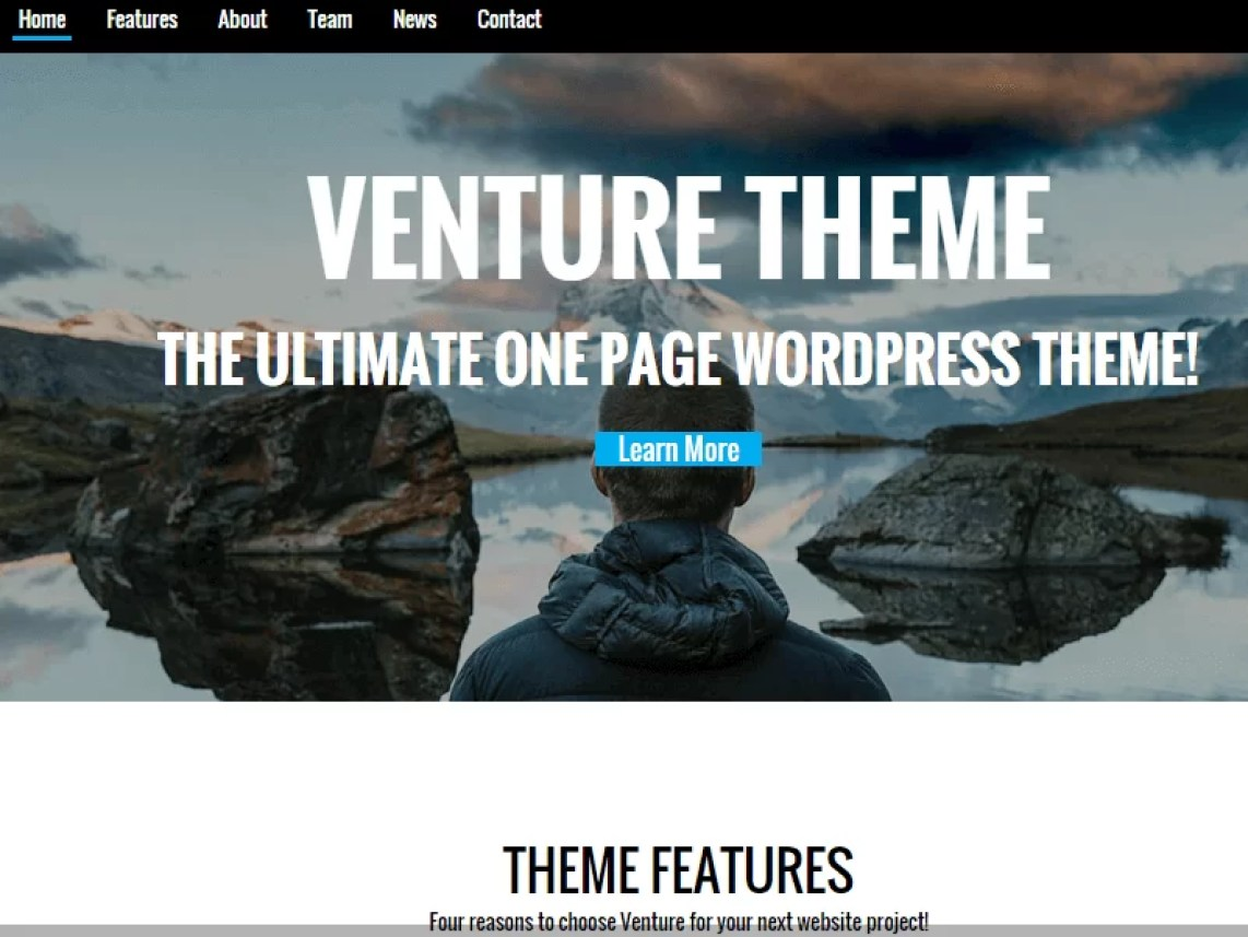 venture-free one-page wordpress themes