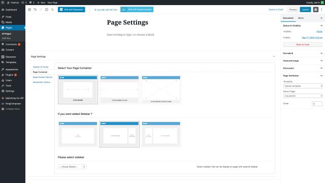 VisaHub Page Container Sidebar Setting