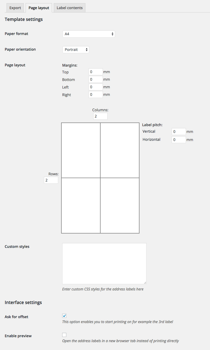 medium resolution of woocommerce address labels page layout settings