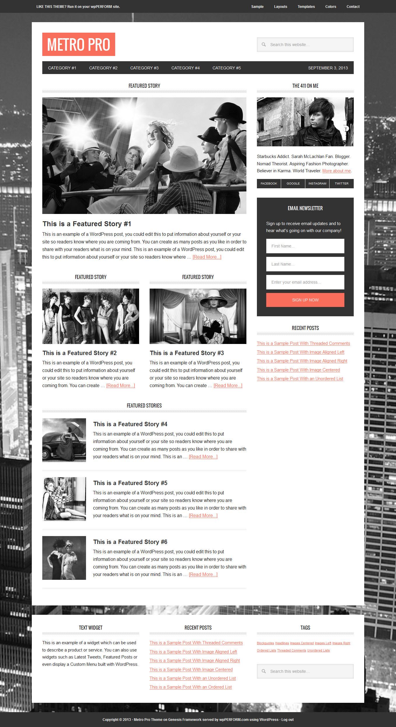 Studiopress Metro Pro Theme For Wordpress