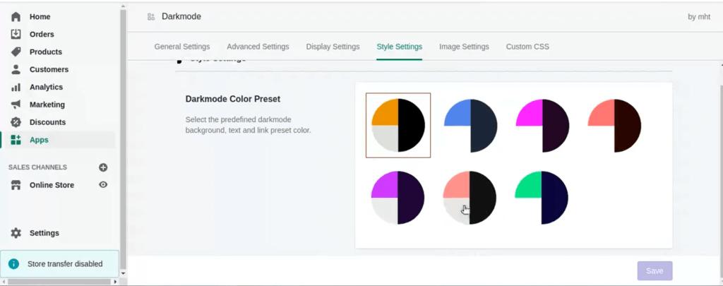 color preset Shopify Dark Mode