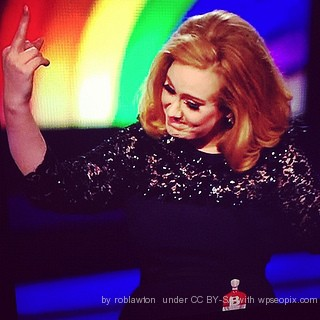 Images shows Adele on stage: Those falsies are looking awesome.