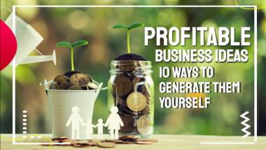 "Featured image with text: ""Profitable business ideas""."
